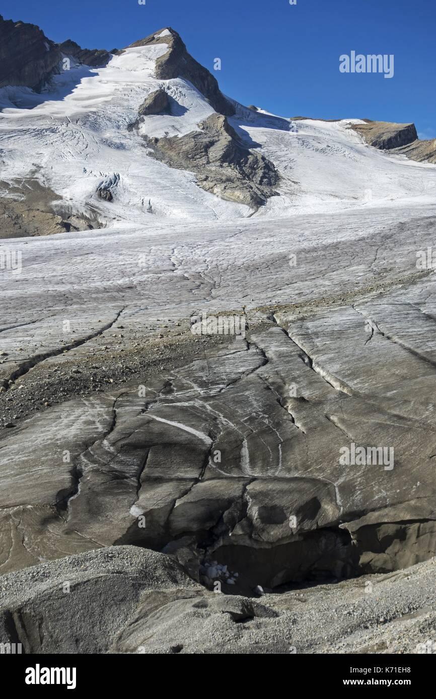 Mont des poilus glaciares glaciar y la cima de la montaña en el parque nacional Yoho, montañas rocosas, British Columbia, Canadá Imagen De Stock