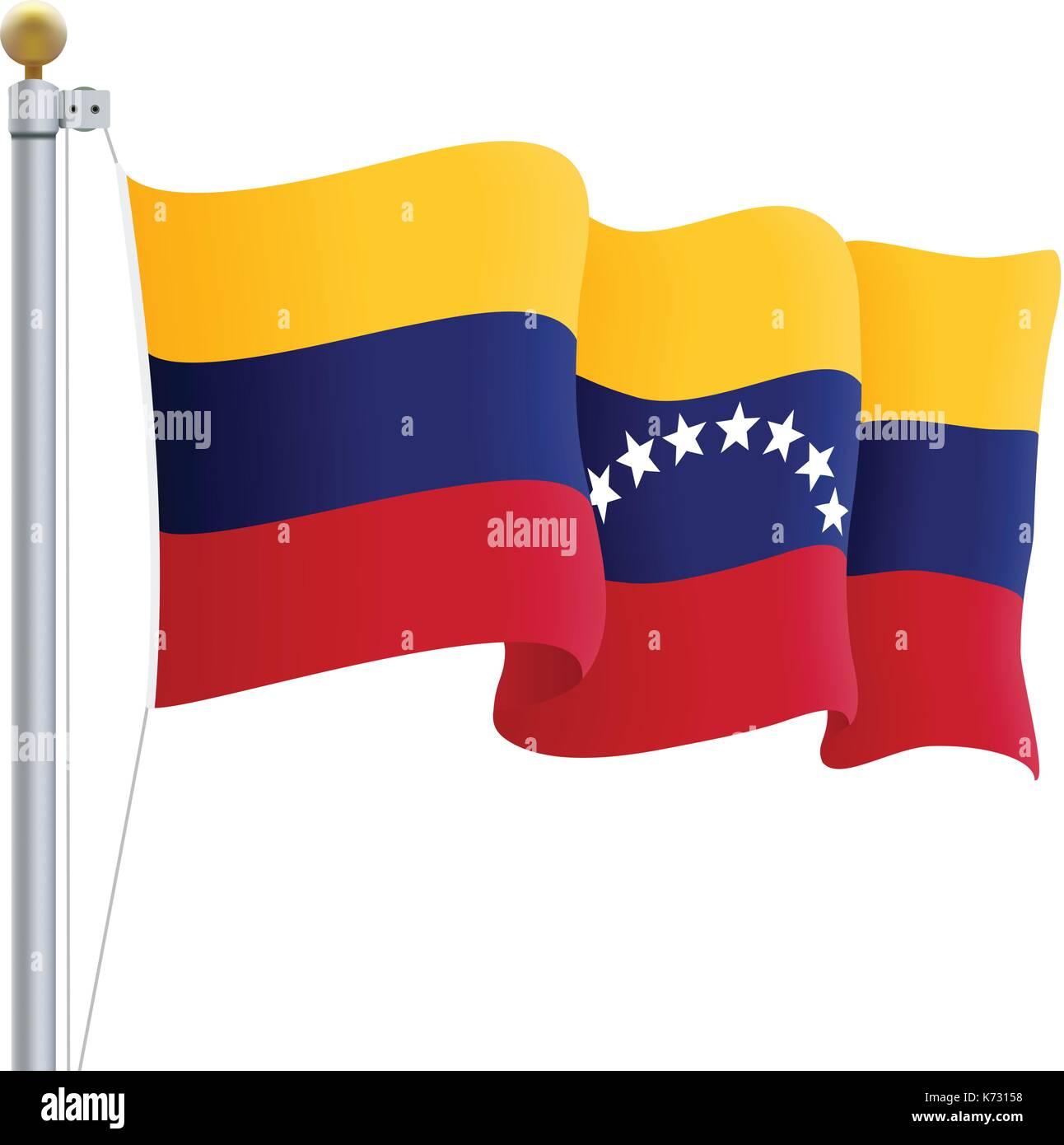 Ondeando La Bandera De Venezuela Aislado Sobre Un Fondo