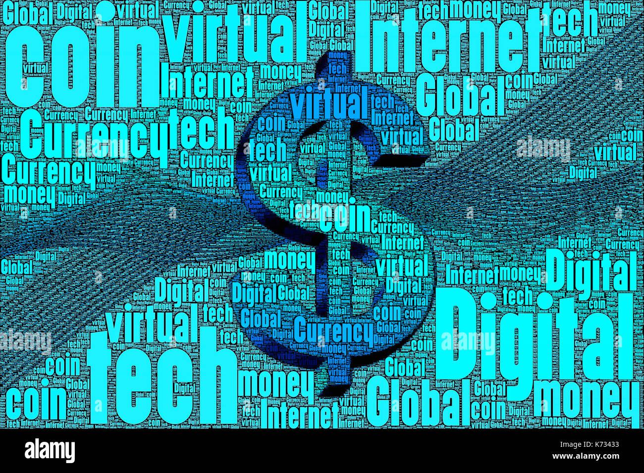 Poco dinero virtual digital concepto de moneda hecha sólo de palabras sobre el tema. Imagen De Stock
