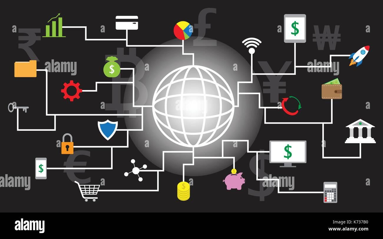 22 fintech iconos en torno a una línea brillante globo con fondo negro y varias monedas que involucran en la tecnología financiera. Imagen De Stock