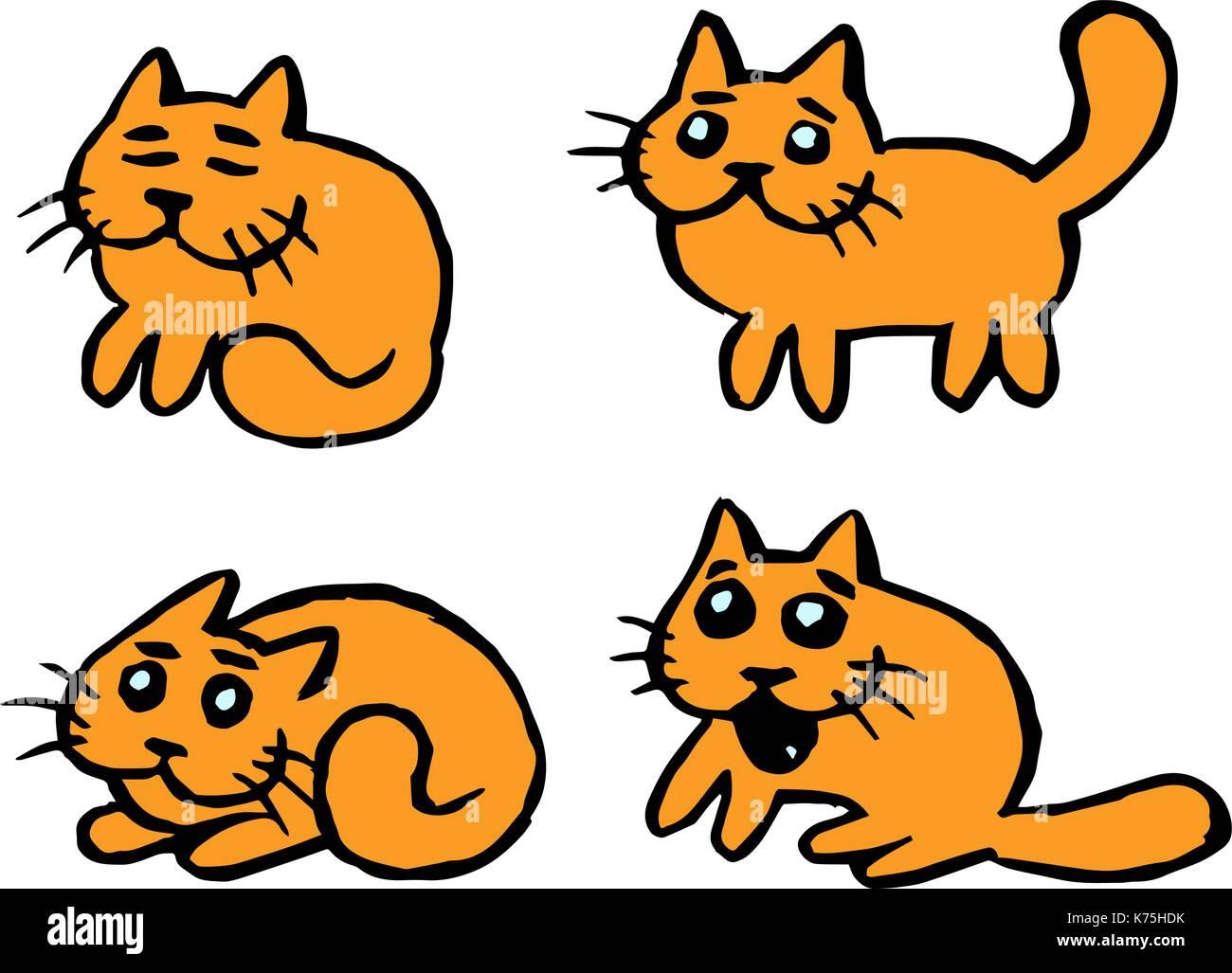 Emoticones De Gatos Naranja Divertida Caricatura Carácter Fresco