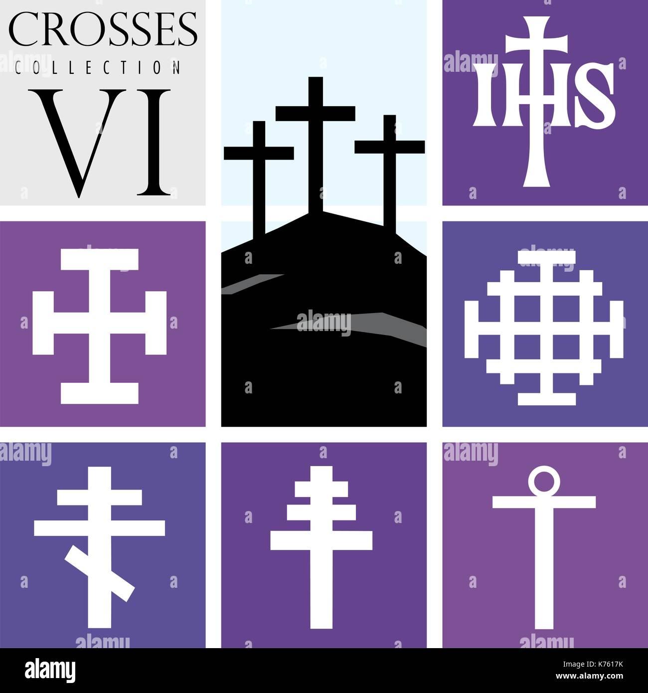 Conjunto De Diferentes Tipos De Cruces Sobre Fondo Púrpura Imagen