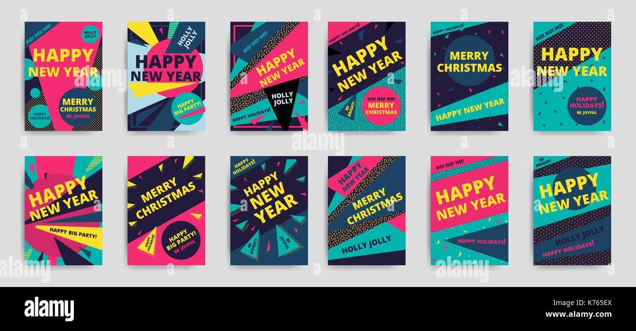 Feliz navidad año nuevo, llamativo diseño banner plantilla ...
