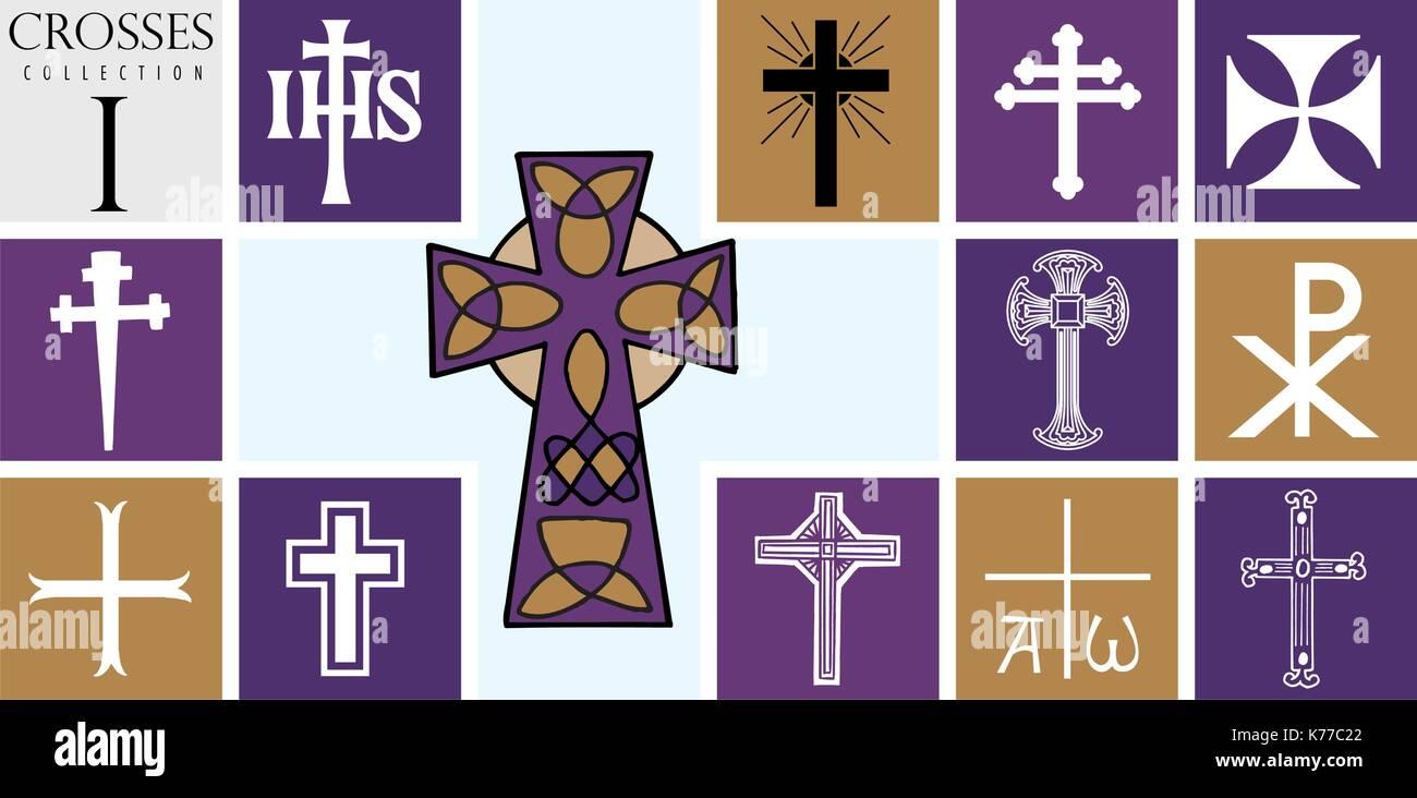 Tipos De Cruces conjunto de diferentes tipos de cruces sobre fondo púrpura - imagen