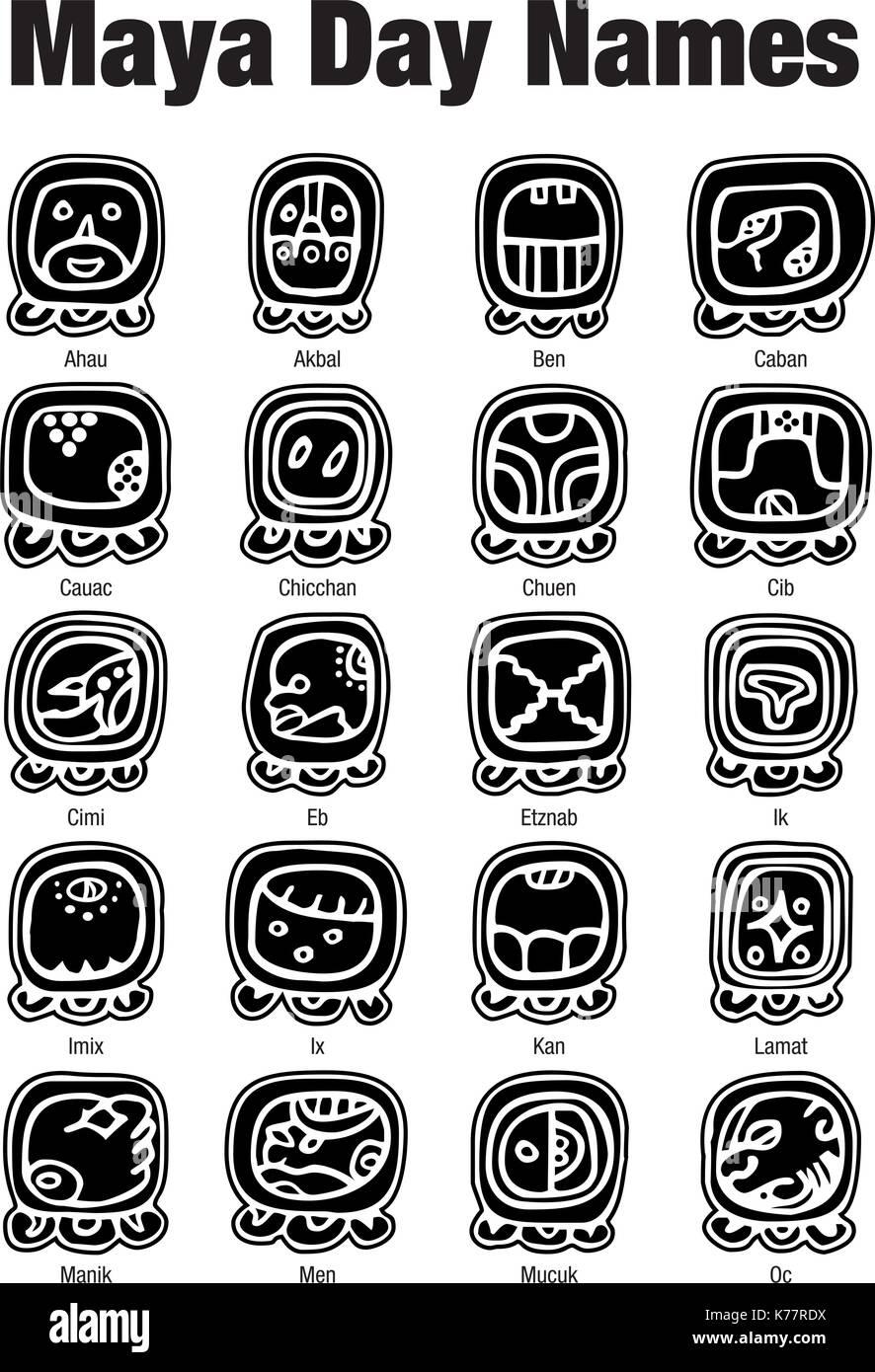 Los Nombres De Día Glifos Mayas En Color Negro Sobre Fondo Blanco