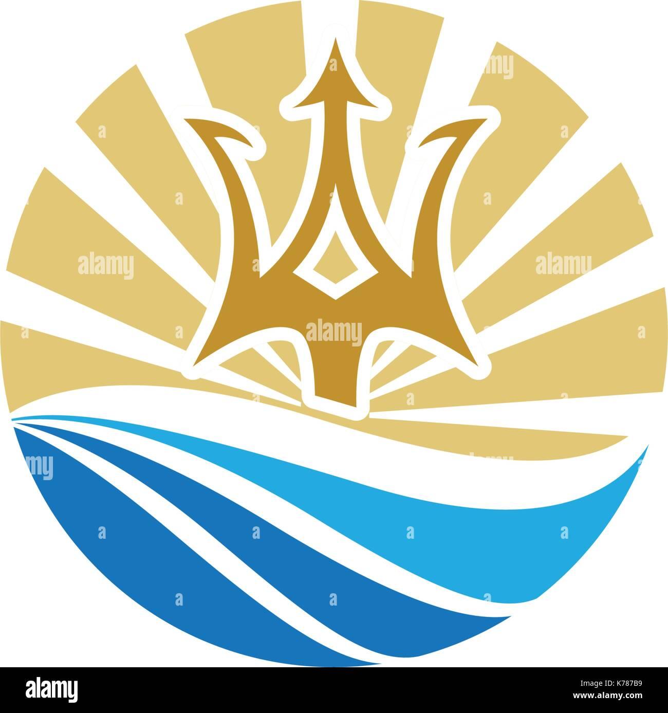 Trident Logo Plantilla icono diseño ilustración vectorial Ilustración del Vector
