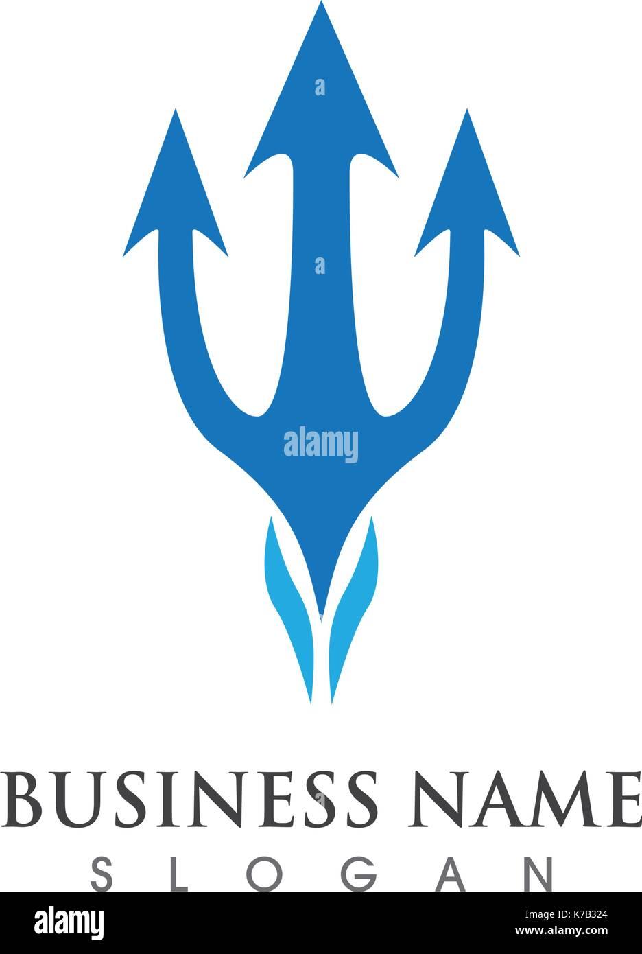 Trident logo plantilla icono diseño ilustración vectorial ...