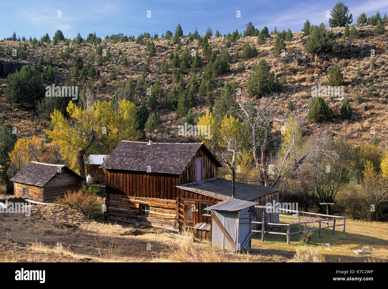 Frederick Riddle Riddle Ranch House, Distrito Histórico Nacional, Steens Mountain Recreation Area, Oregón Imagen De Stock