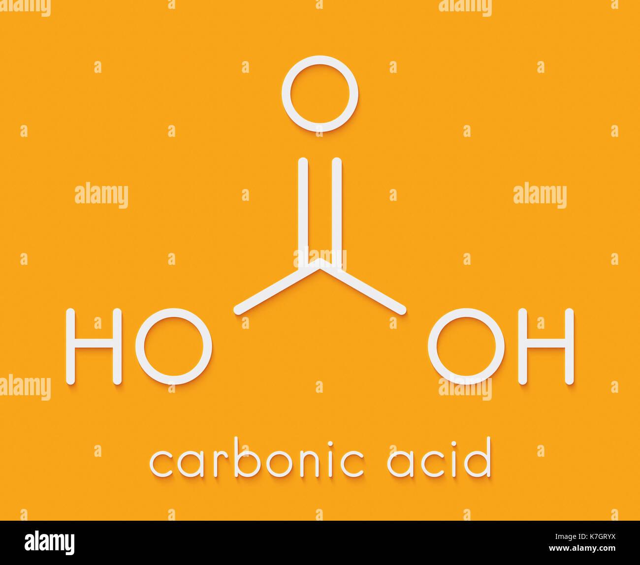 Molécula de ácido carbónico formado cuando el dióxido de carbono se disuelve en el agua (agua carbonatada). Fórmula esquelética. Imagen De Stock
