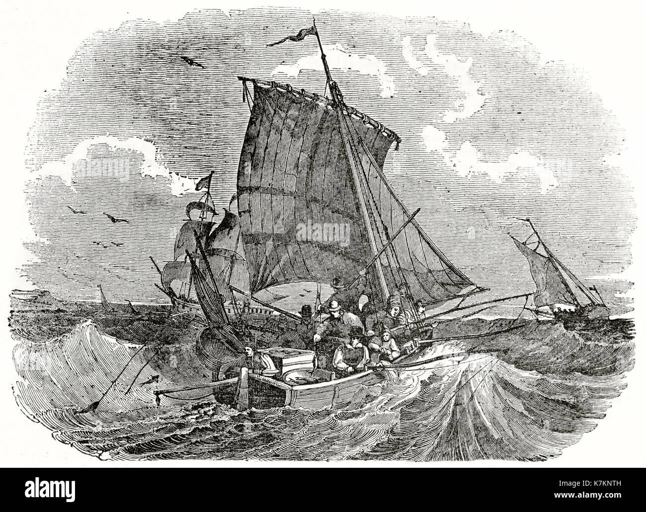 Ilustración antigua de pescadores franceses angulable para meckerel. Por autor no identificado, Publ. de la Penny Magazine, Londres, 1837 Imagen De Stock