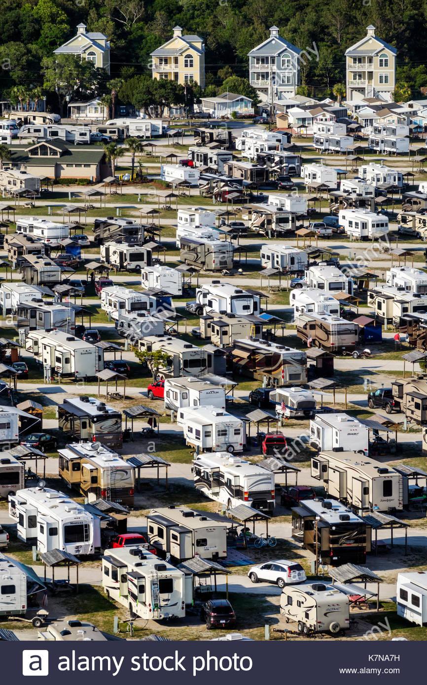 Carolina del Sur del Océano Atlántico SC Myrtle Beach Myrtle Beach Travel Park RV vehículos recreacionales caravana antena camping park vista de pájaro Imagen De Stock