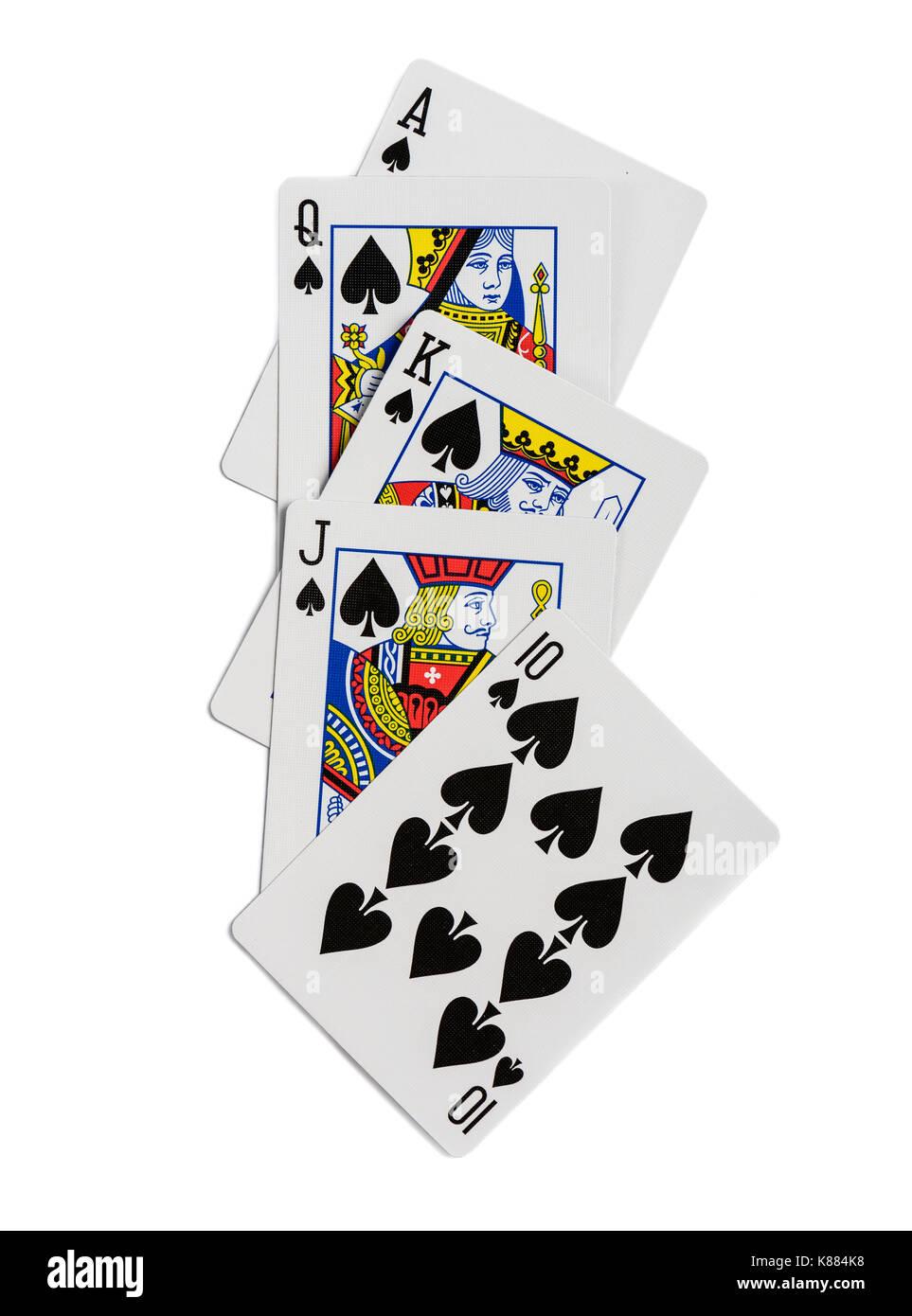 Combinación de cartas de juego de casino poker palo Picas. aislado sobre fondo blanco. Imagen De Stock
