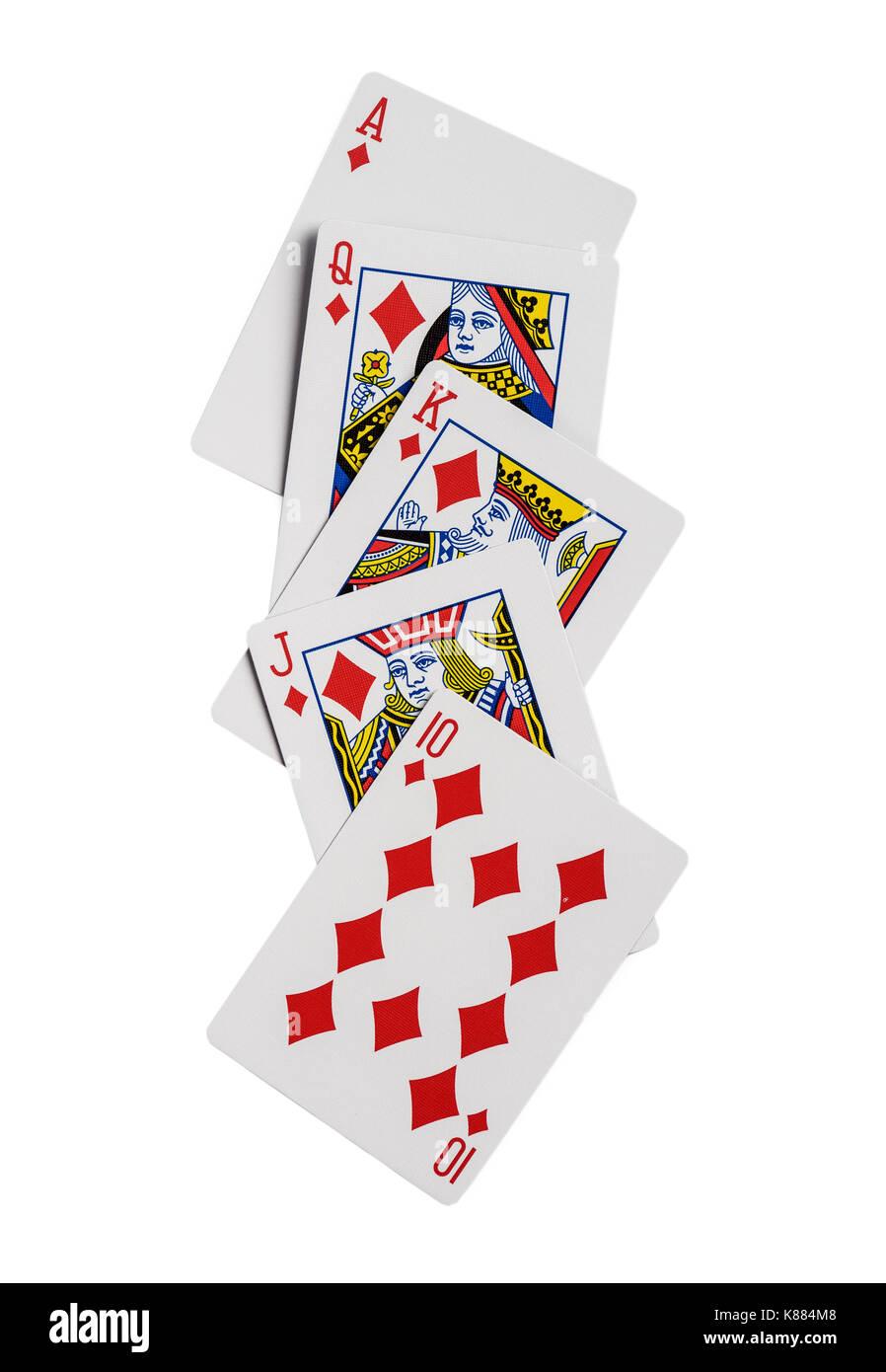 Combinación de cartas de juego de casino poker palo Diamantes. aislado sobre fondo blanco. Imagen De Stock