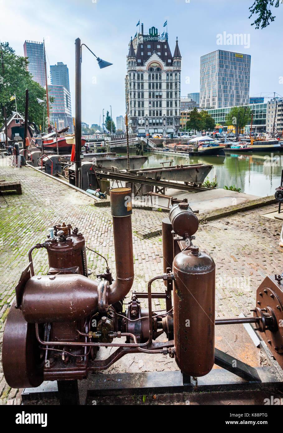 Países Bajos, en el sur de Holanda, Rotterdam, Museo Marítimo, Puerto histórico Koningspoort Scheepsshelling Imagen De Stock