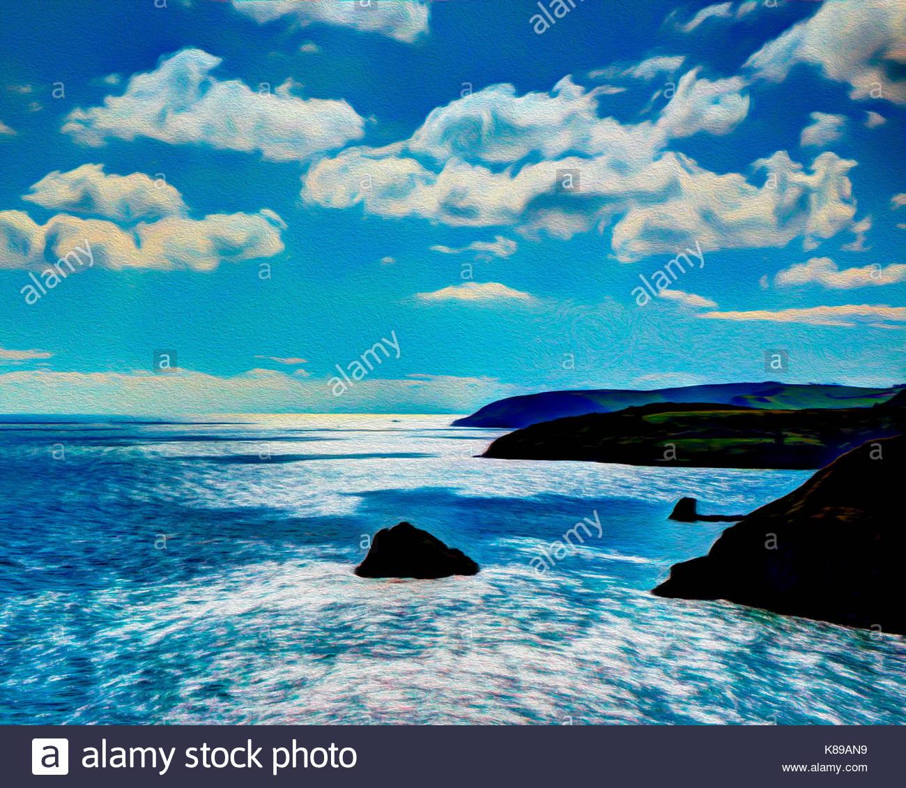 Arte Digital: Visto desde la costa oeste del país, cerca de la cabeza de Baya Brixham, Devon, Gran Bretaña Imagen De Stock