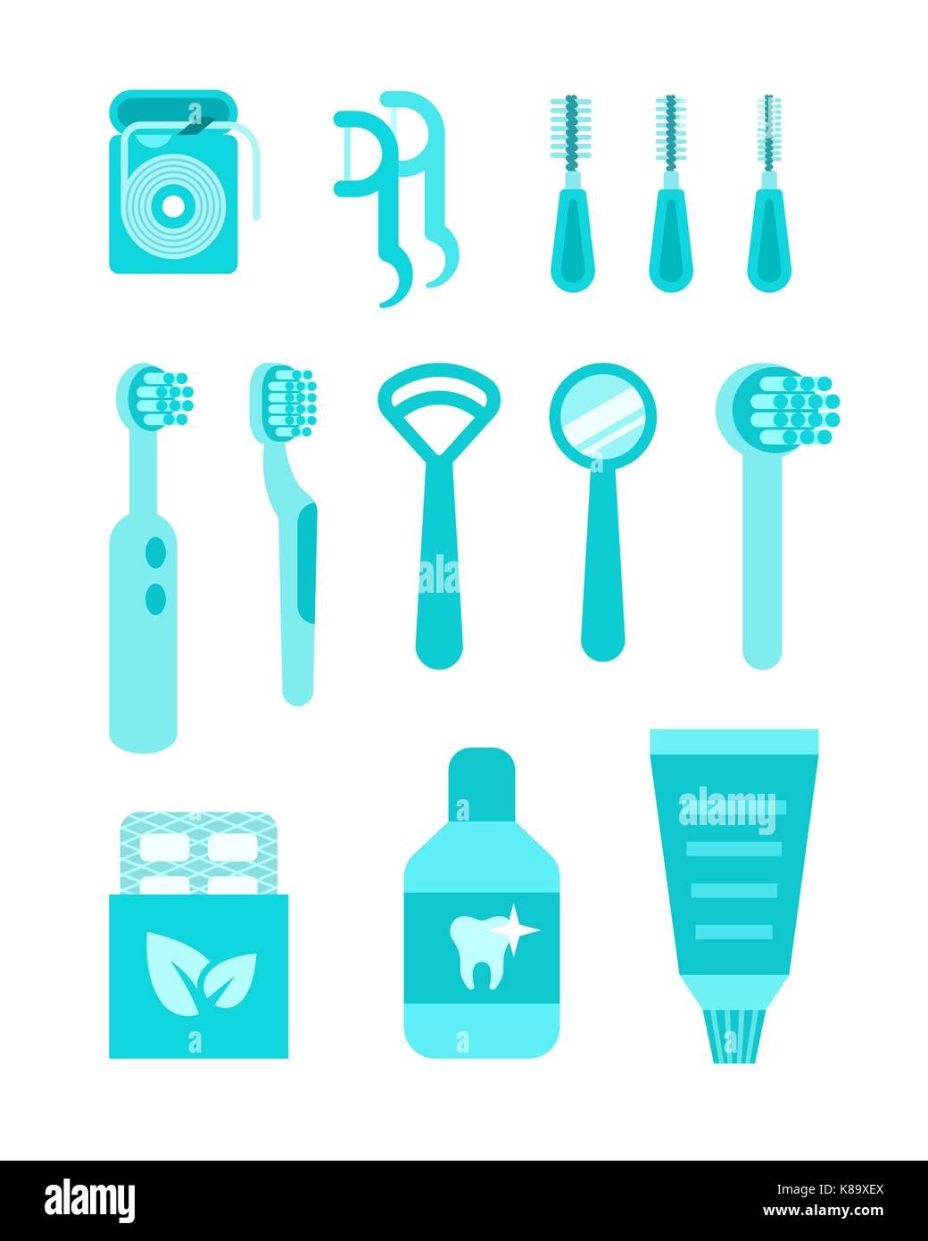 f7dbfff480077 Iconos vectoriales herramientas individuales. plano de simples  ilustraciones. Lavar la boca home equipos tales como cepillos de dientes