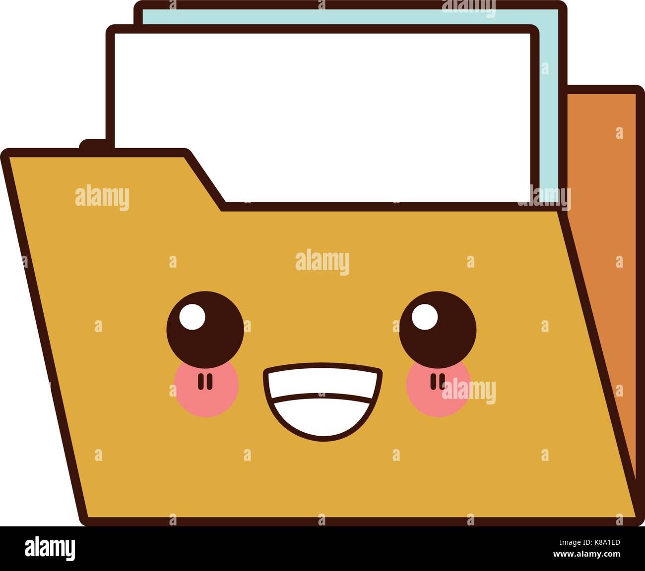 Abrir Carpeta Símbolo Cute Kawaii Cartoon Ilustración Del
