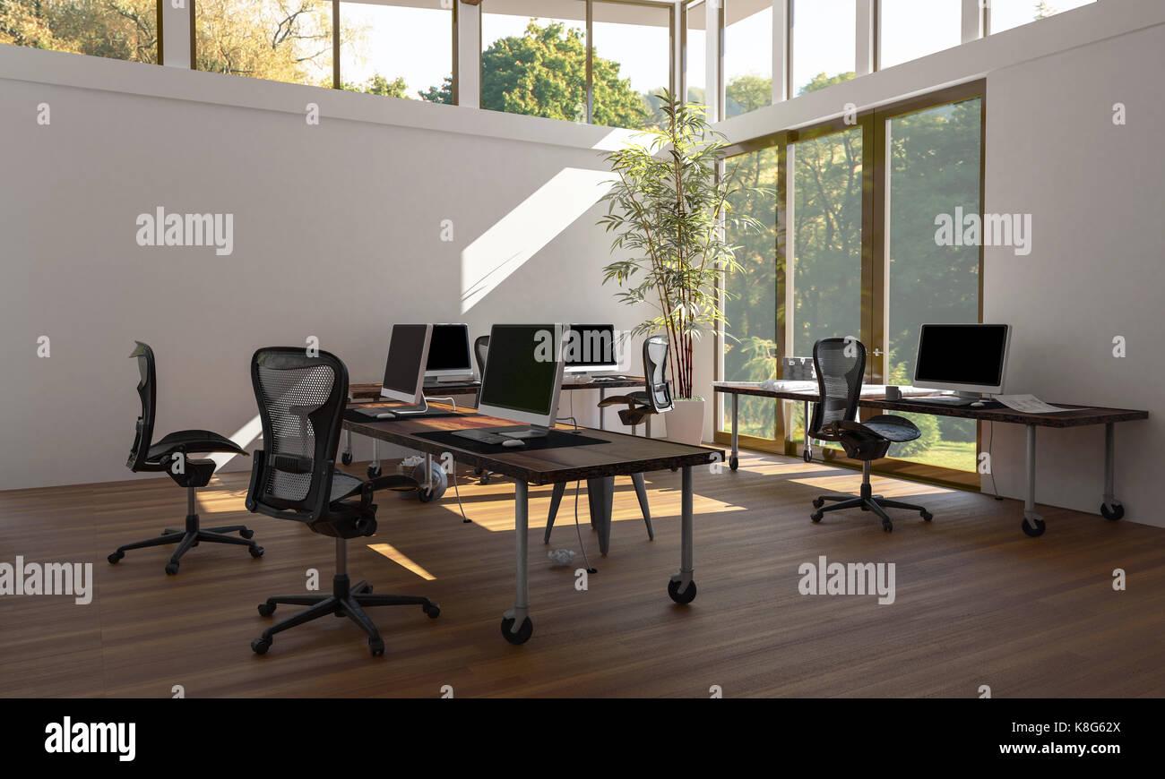 Un ContemporáneoLuminoso Estilo Área Con Vacío De Oficina Eco 4qRjL35A