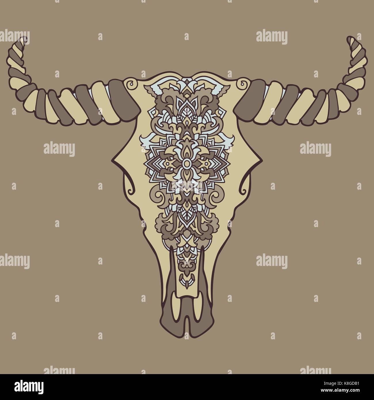 Mandala Estilo Tatuaje Cabeza De Vaca Muerta Ornamento Decorativo - Mandalas-indios