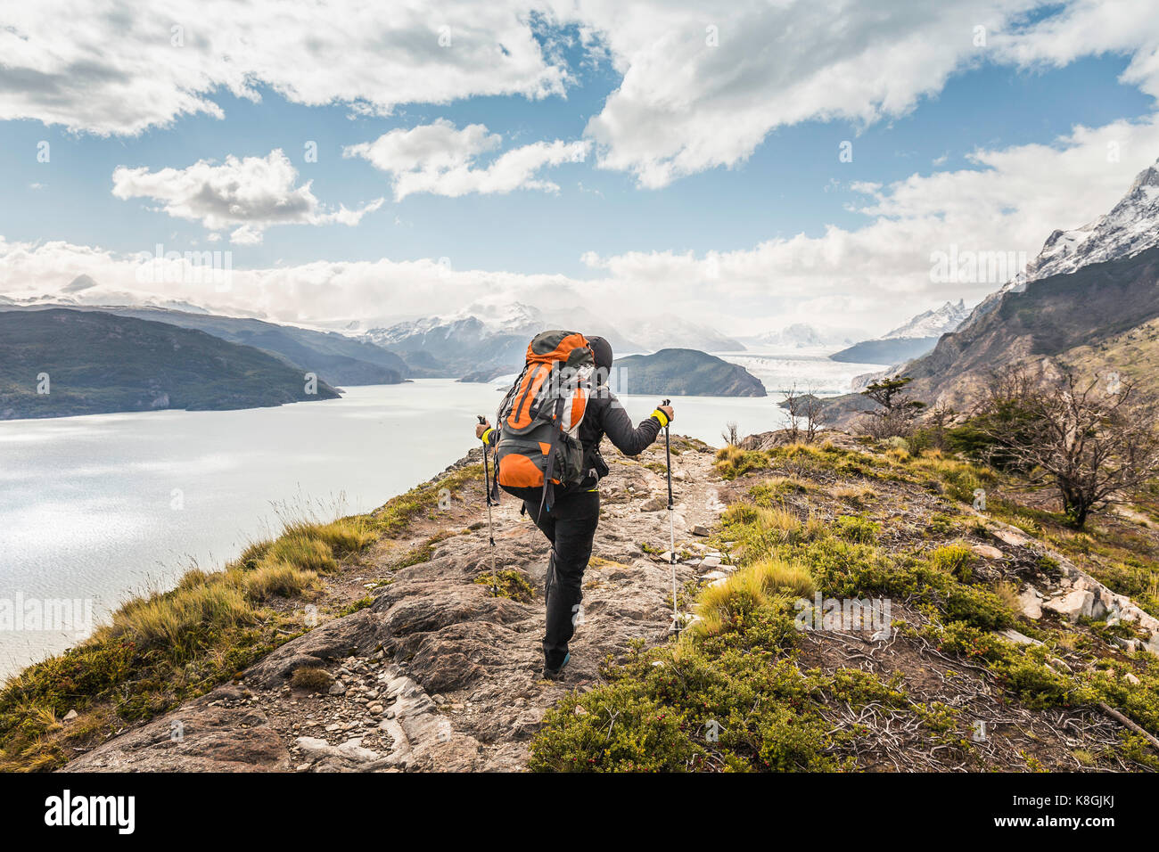 Vista trasera del excursionista hembra caminatas junto al lago glaciar Grey, Parque Nacional Torres del Paine, Chile Foto de stock