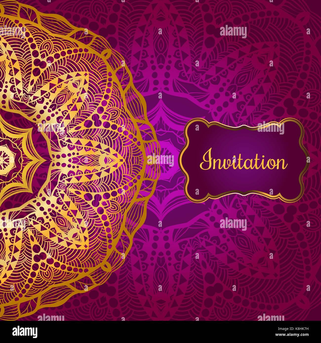 Tarjeta de invitación de oro enriquecido en el estilo indio ...