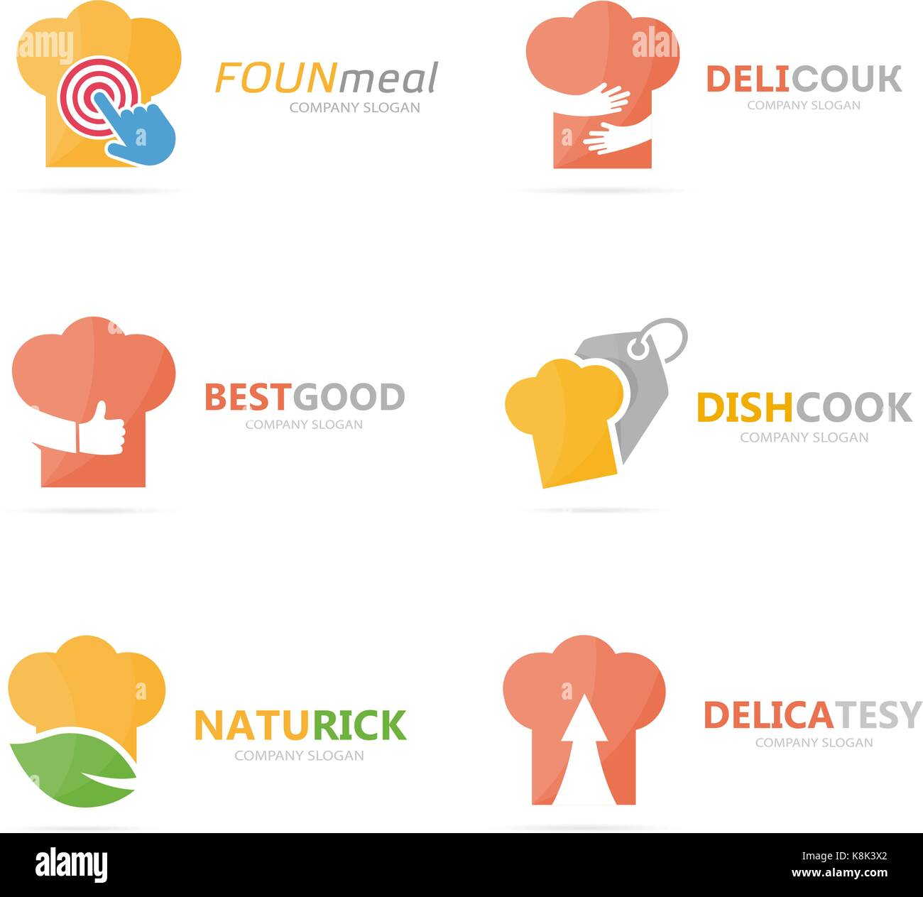 Conjunto de chef hat logo combinación. cocina y cocinar Símbolo o ...