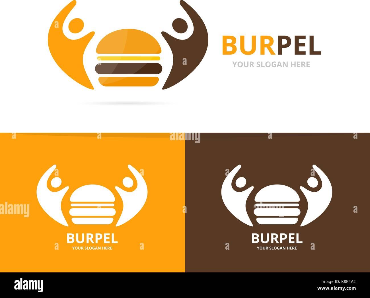 Vector Logo Burger Y Personas Combinación Una Hamburguesa Y Familia