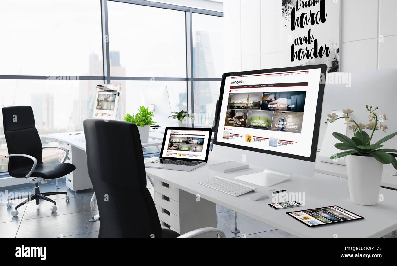 Office Desktop 3D rendering con e-magazine en la pantalla Imagen De Stock