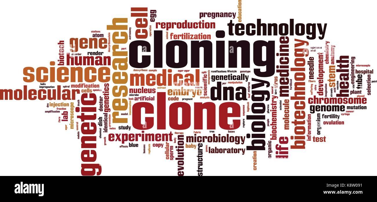 La clonación palabra nube concepto. ilustración vectorial Ilustración del Vector
