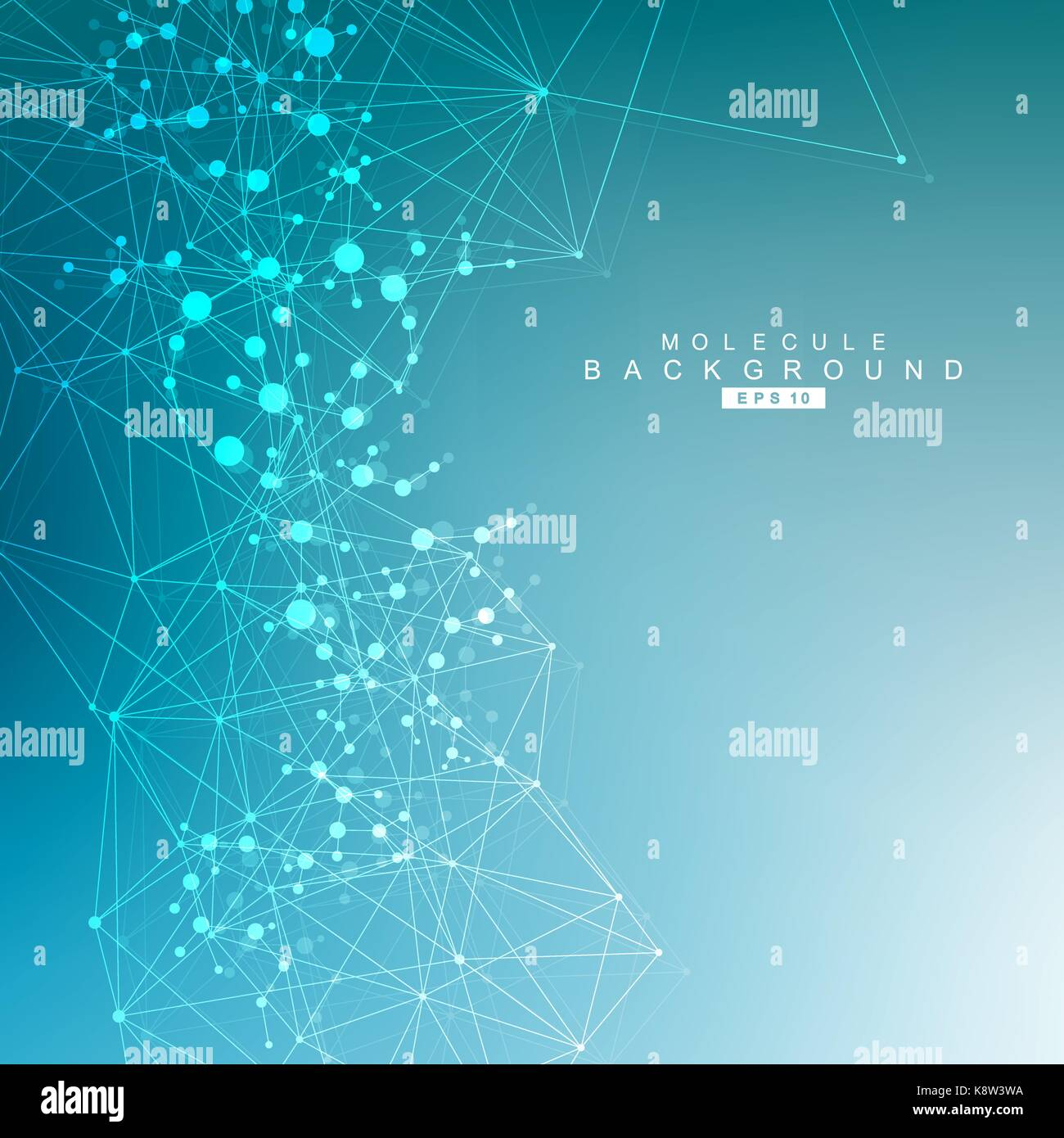 Estructura Molecular y comunicación. ADN, atom, neuronas. concepto científico para su diseño. líneas Imagen De Stock