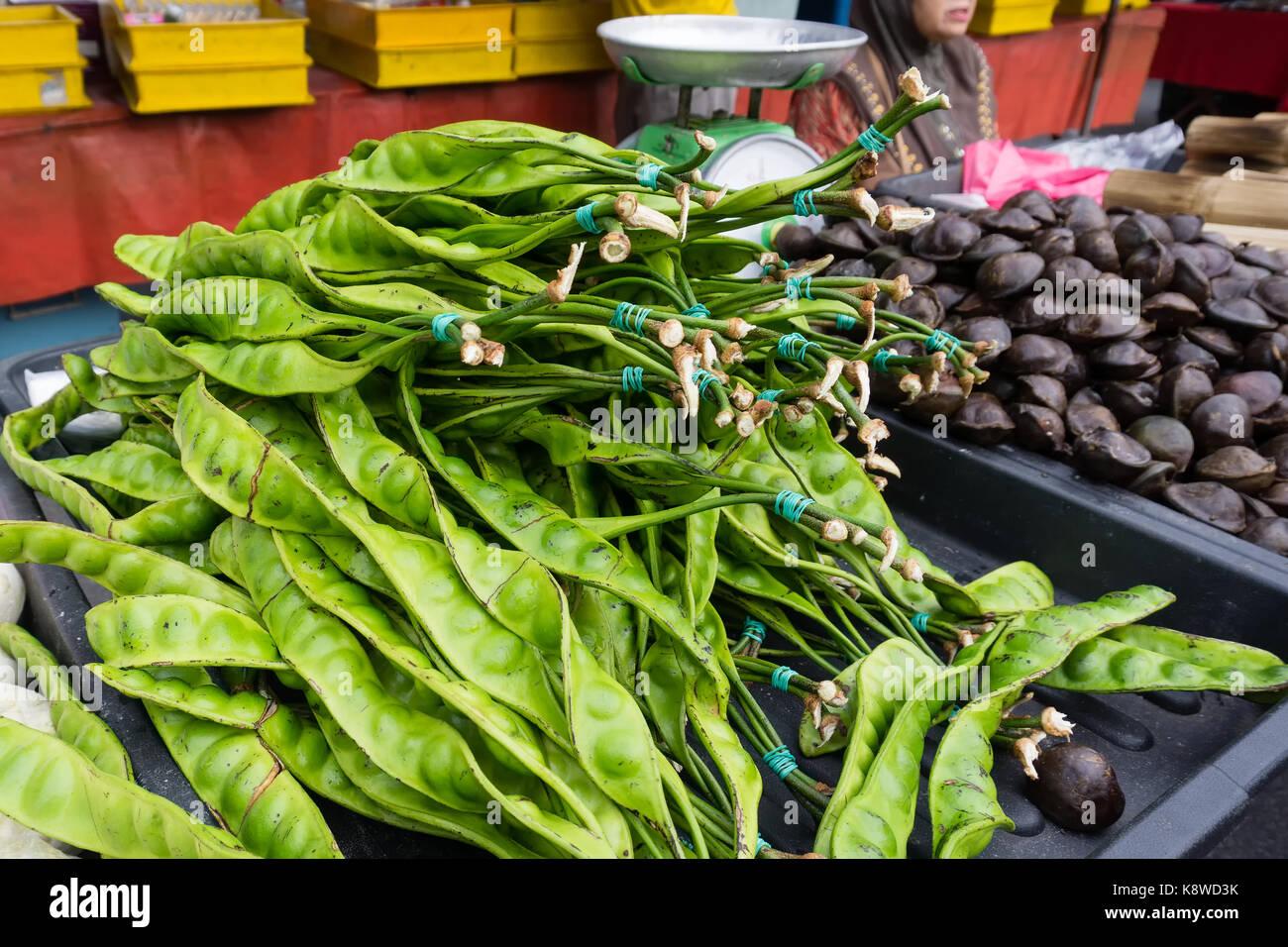 Stinky bean para la venta en el mercado de antigüedades y pulgas en Ipoh, la ciudad capital de Perak. Foto de stock