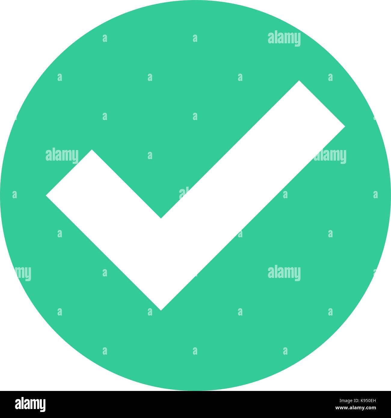 Icono de marca de verificación planas círculo además firmar opción botón redondo. Fácil Imagen De Stock