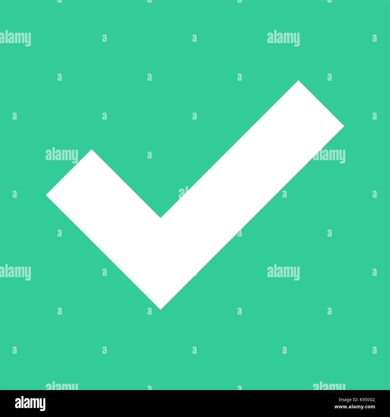 Icono de marca de verificación plana además cartel cuadrado elección botón. Rápido y fácil Imagen De Stock