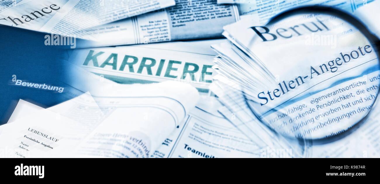 Situaciones ofrecen con lupa y la cartera de aplicaciones Imagen De Stock