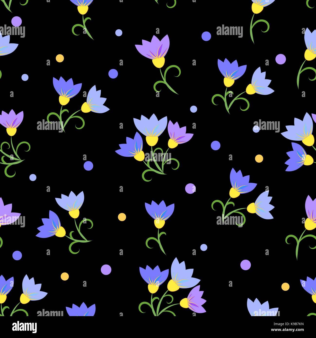 Flores Azules Sobre Fondo Negro Patron Sin Fisuras Ilustracion Del
