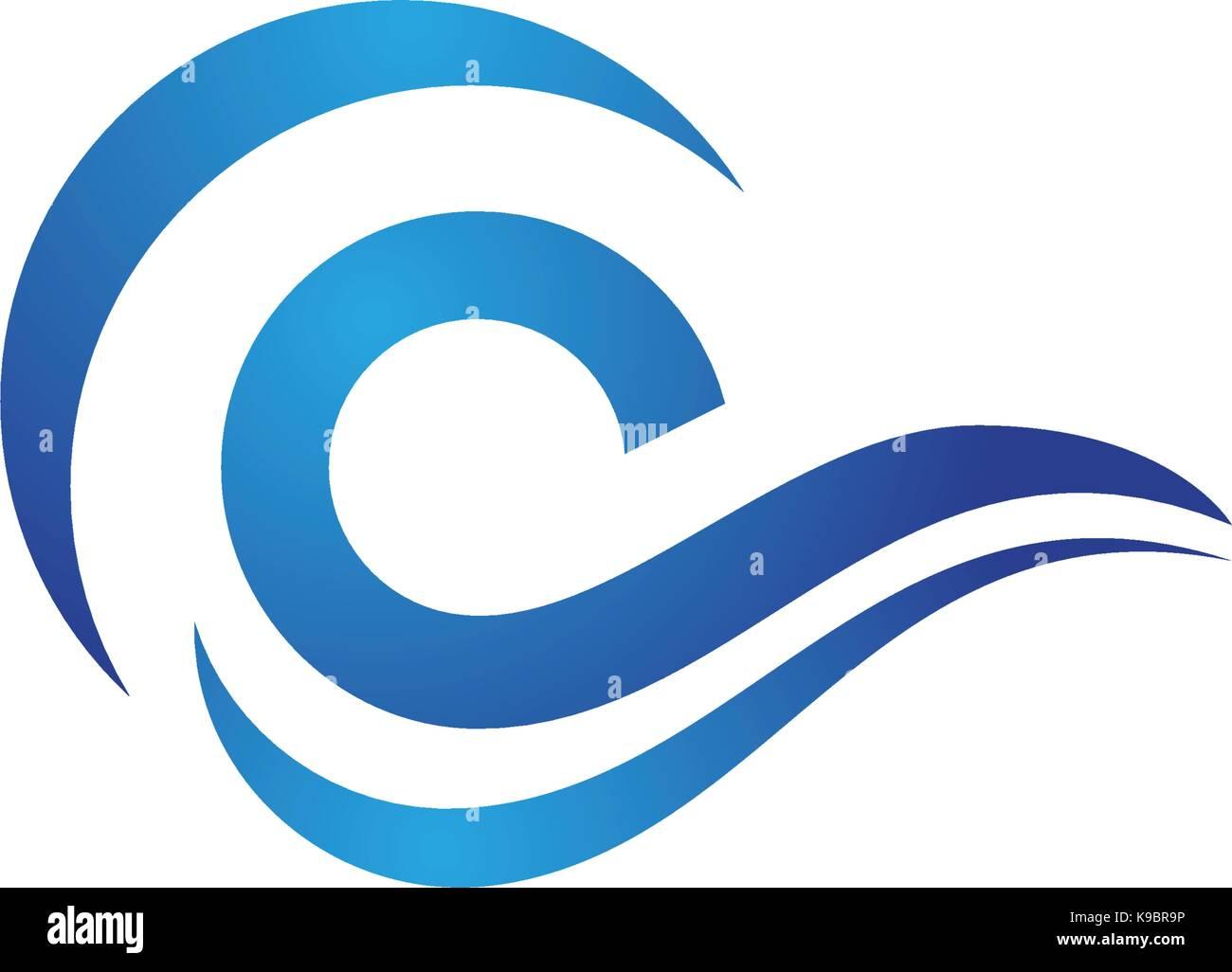 Onda de agua logo plantilla diseño ilustración vectorial Ilustración ...