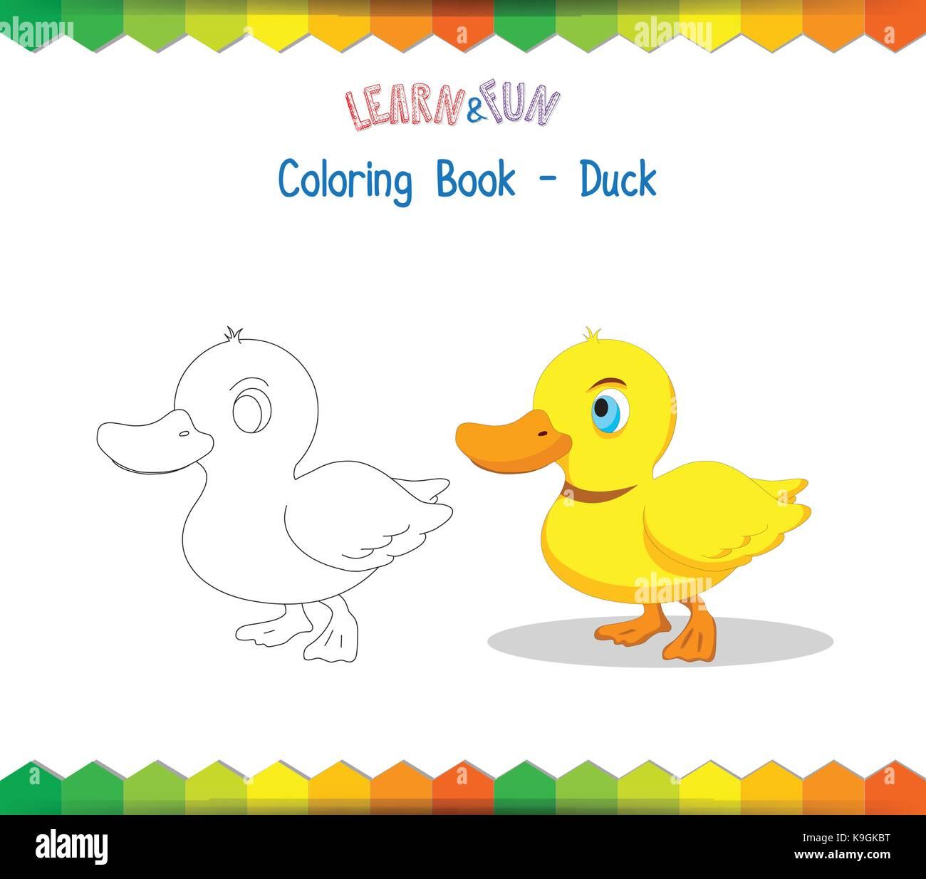 Libro Para Colorear De Pato Juego Educativo Ilustración Del Vector