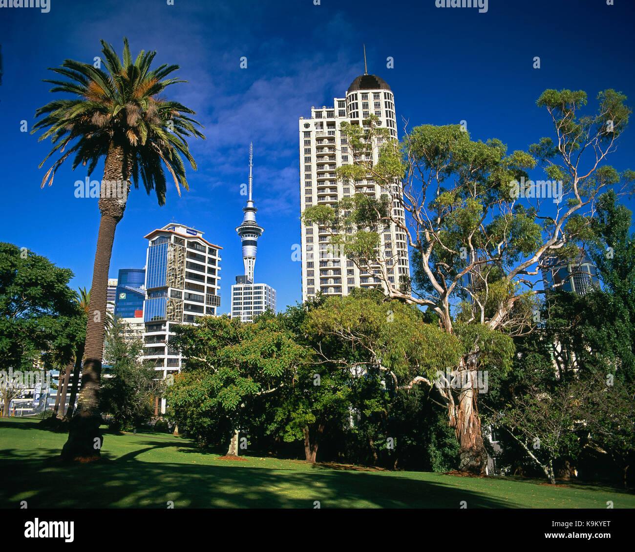 Nueva Zelanda Auckland. Ángulo de visión baja de los edificios de la ciudad desde el parque Myers. Imagen De Stock