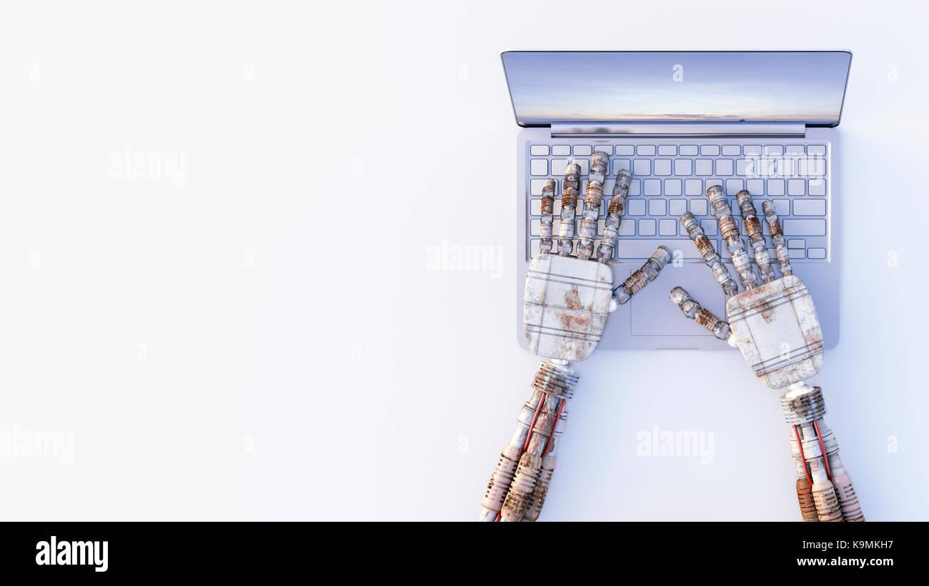 Robot manos escribiendo en un portátil. Imagen De Stock