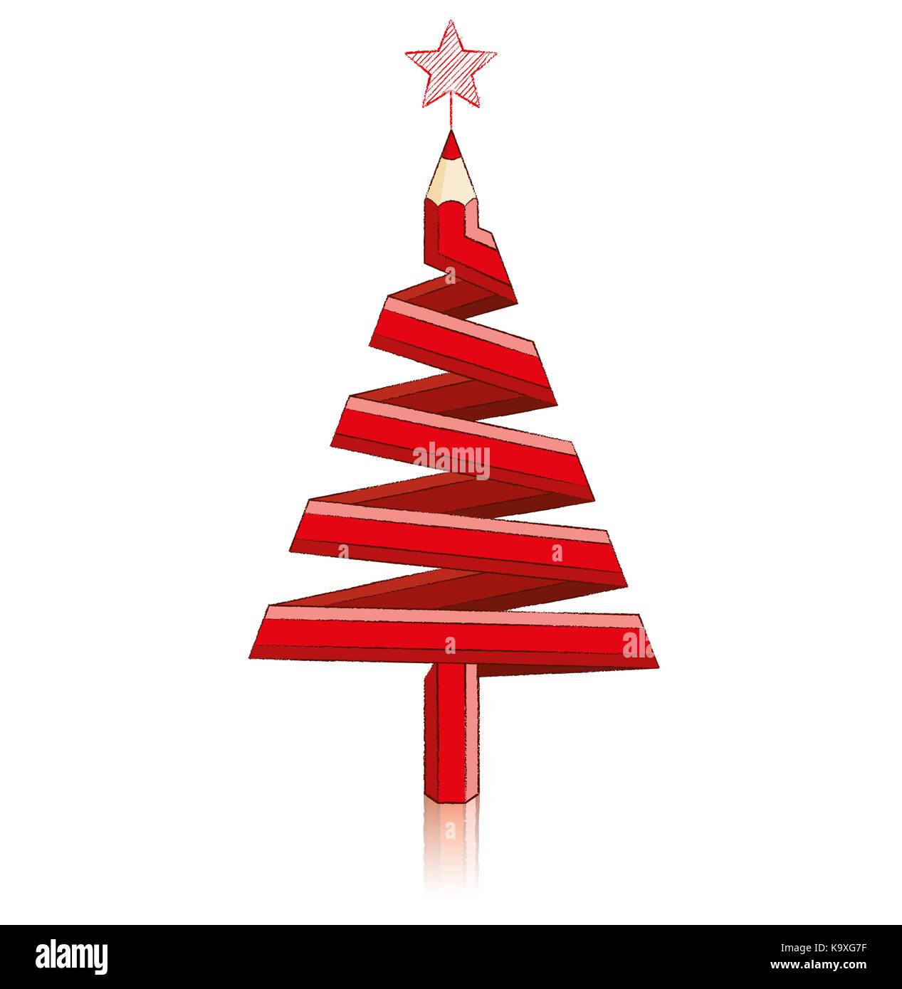 Lápiz De Color Rojo En Forma De árbol De Navidad Con Reflexión