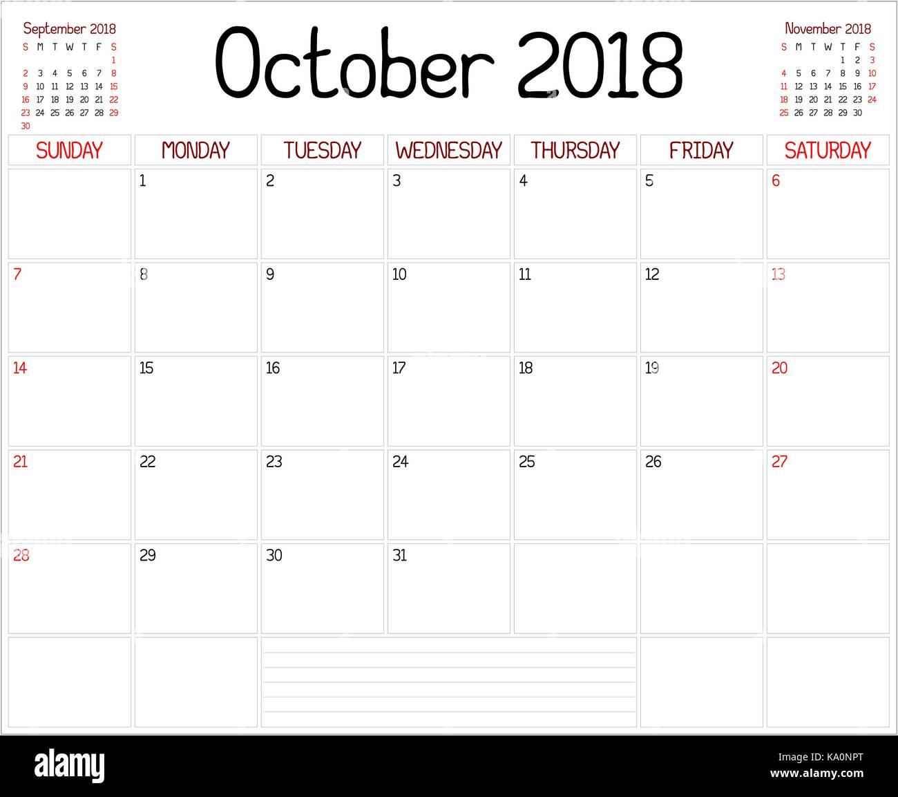 8040da7597947 Año 2018 Octubre Planner - un calendario Planificador mensual para octubre  de 2018 en blanco. Un estilo personalizado se utiliza manuscrita.