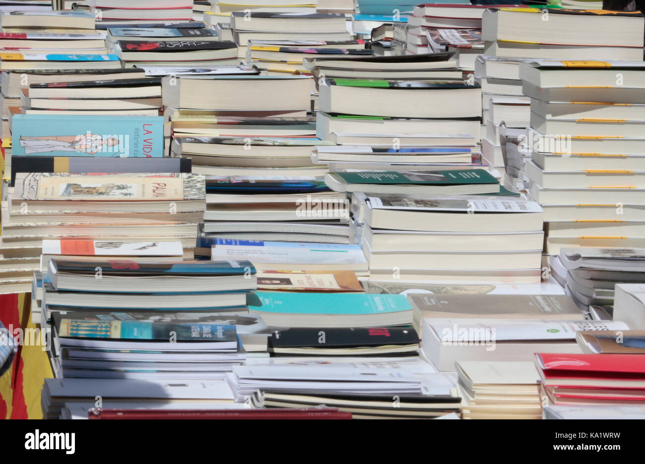 Los libros y los compradores de libros en una calle de día en la isla de Mallorca Foto de stock