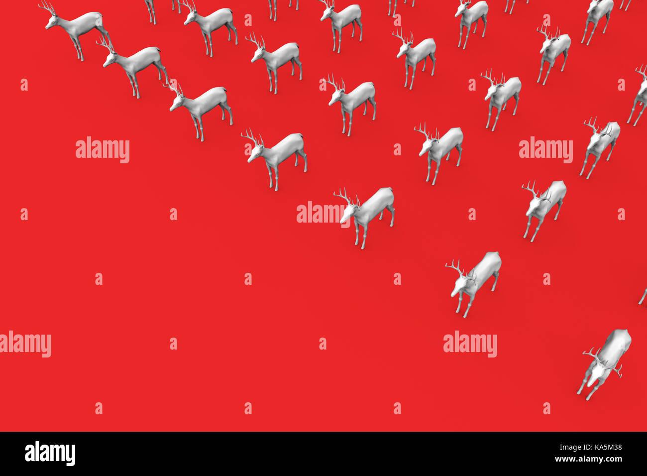 Los renos navideos sobre un fondo rojo 3D rendering Foto Imagen