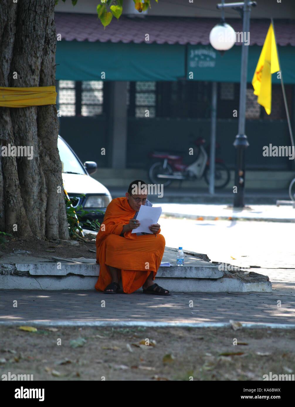 La vida cotidiana en un monasterio budista. Monje budista lee un libro debajo de un árbol. Foto de stock