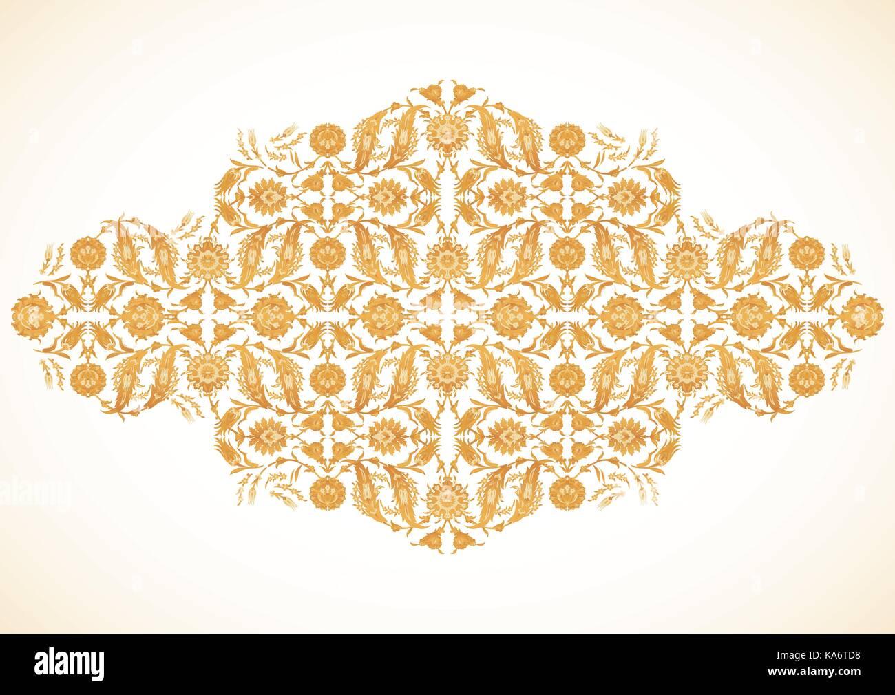 Arabesco vintage decoración de oro adornado patrón para plantilla de ...