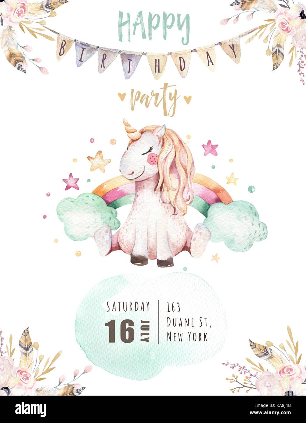 Lindo Aislados Acuarela Unicorn Tarjeta De Invitación