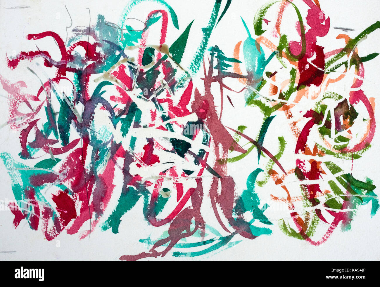 La pintura de flores. El artista ha utilizado para obtener el líquido de enmascarar áreas limpias y líneas. Imagen De Stock