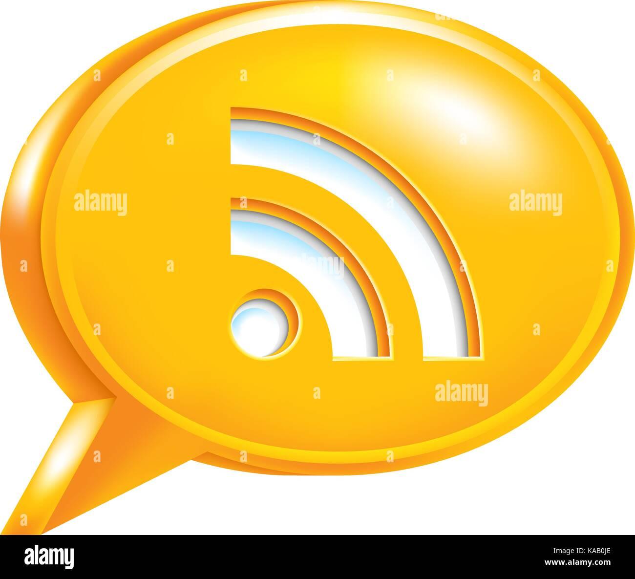 Utilizarlo en todos sus diseños. discurso de burbuja icono naranja con rss signo o señal de wi-fi. Imagen De Stock