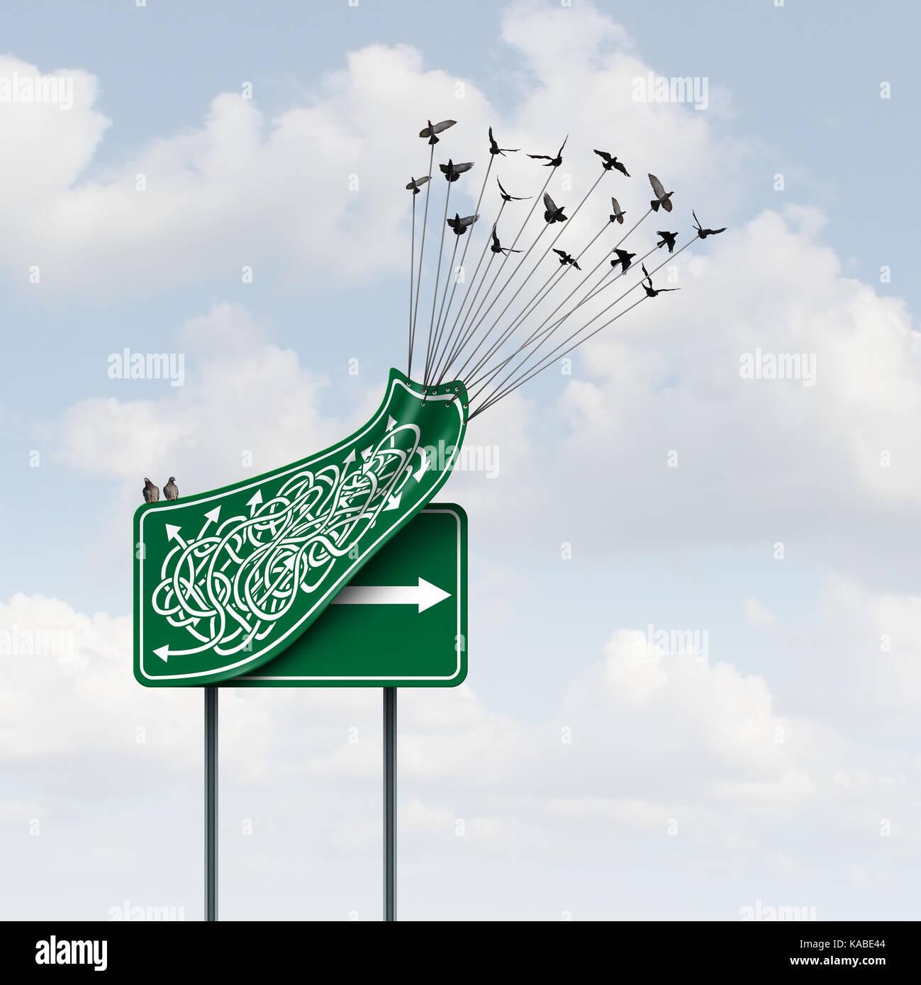 Concepto de forma empresarial como un grupo de aves levantando un signo dirección confusa, revelando una clara Imagen De Stock