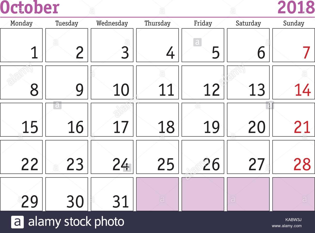 281ce764bcde7 Calendario digital simple para octubre de 2018. vector calendario  imprimible. Planificador mensual. La